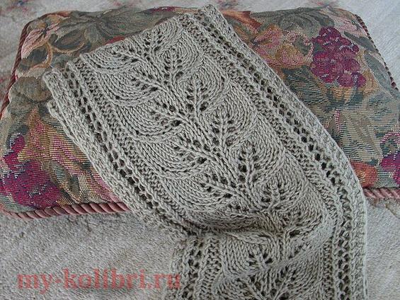 Вязание шарфа спицами «Дорожка из листьев»