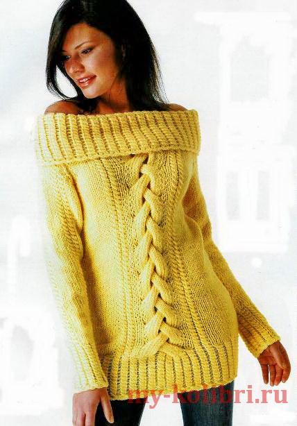 Длинный свитер спицами с косой из отдельных полос