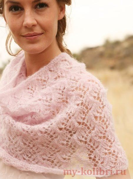 Ажурный шарф снуд спицами «Розовая нежность» из Drops