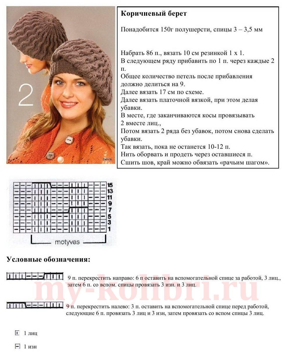 Вязании шапки спицами со схемами видео