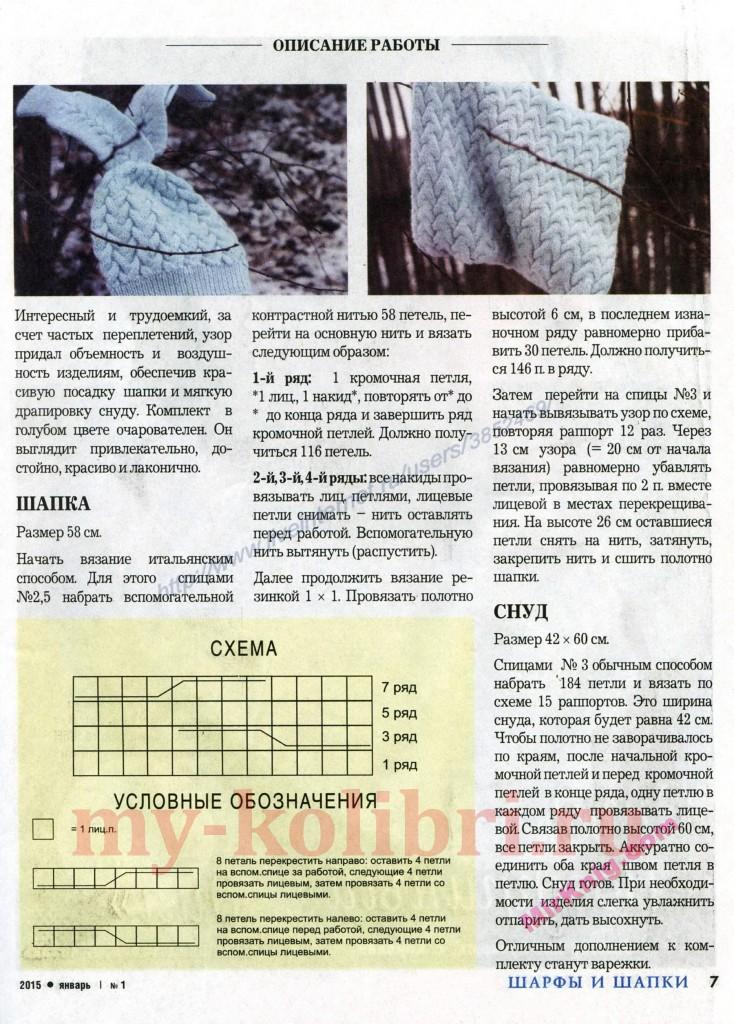 Шапочка спицами для девочки в комплекте со снудом «Голубая рапсодия»