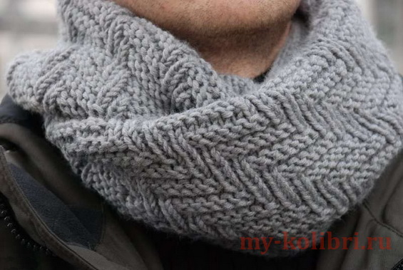 Мужской шарф снуд спицами геометрическим узором