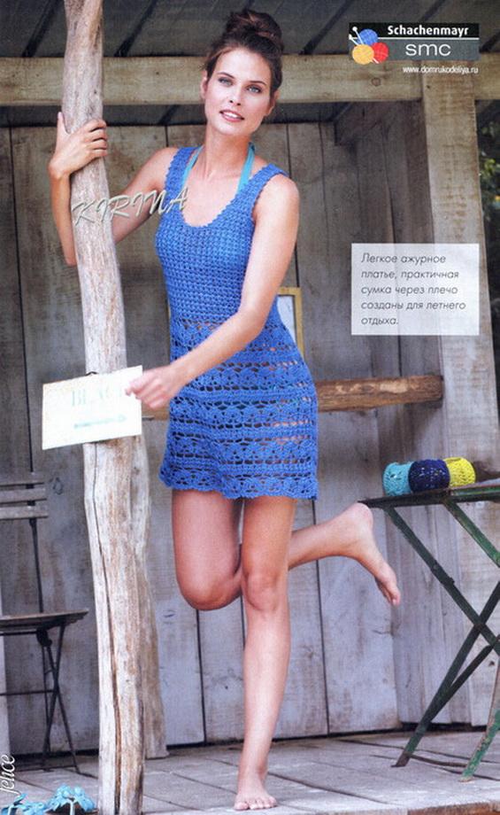Голубое платье для пляжа крючком схемы