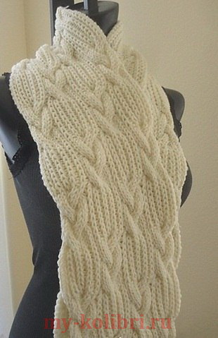 Объемный шарф спицами узором