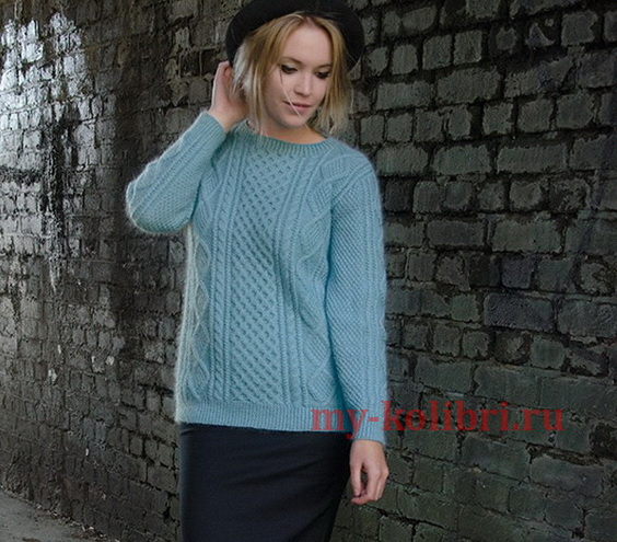 Модный свитер спицами «Grit» от Kim Hargreaves