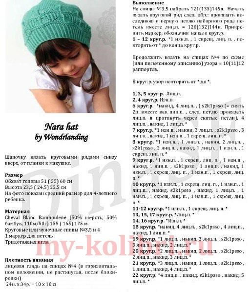 Схема вязаной шапки для девочки косы