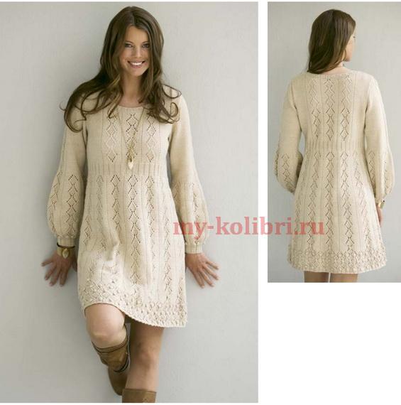 Вязание спицами платье туника схемы и