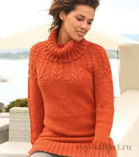 Длинный свитер спицами с