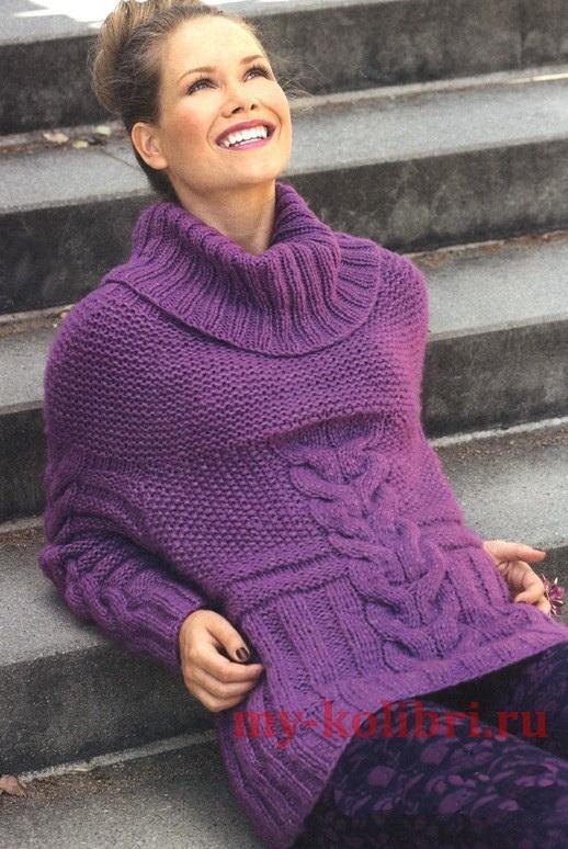 Длинный свитер  спицами с объемным воротником и узором из кос