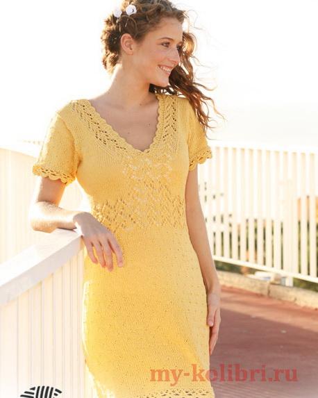 Вязание ворота платья