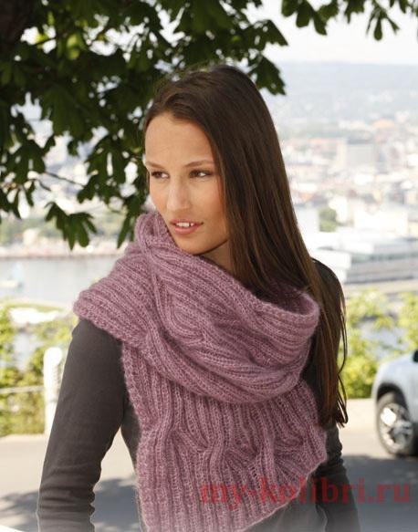 Красивый шарф спицами «Soft Cloud»