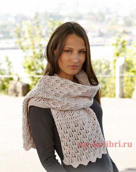 Ажурный шарф спицами Soft Magnolia