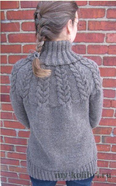 Вязание кокетки из кос