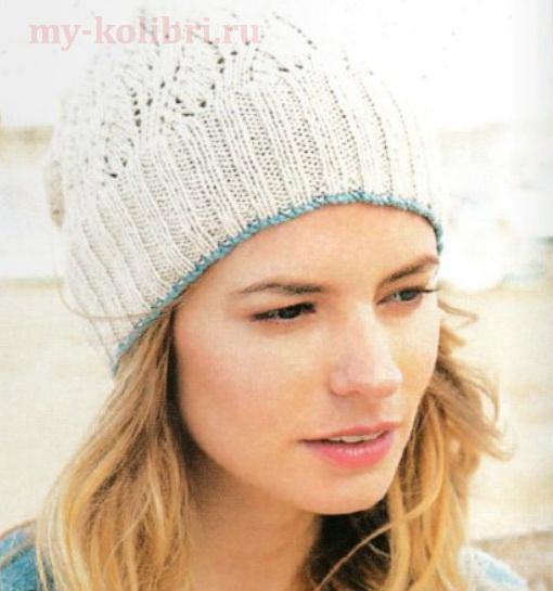 Ажурная шапочка спицами от Sarah Hazell