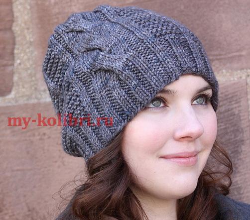 Вязание шапки спицами с одной косой: схема и описание