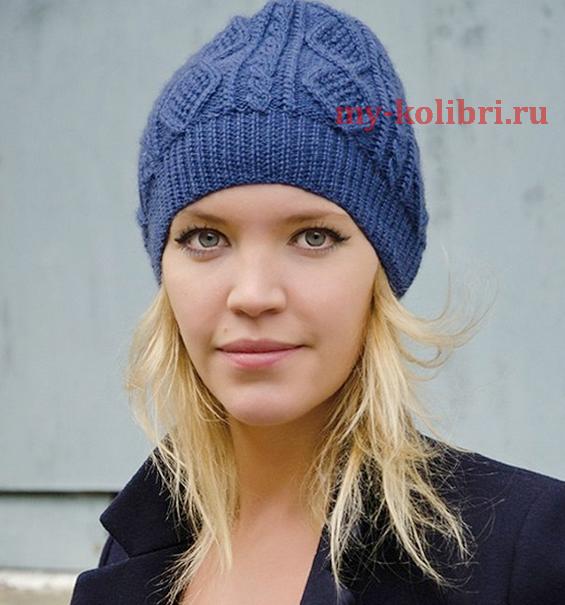 шапка спицами «GUSTY» плетеным узором из кос и ромбов