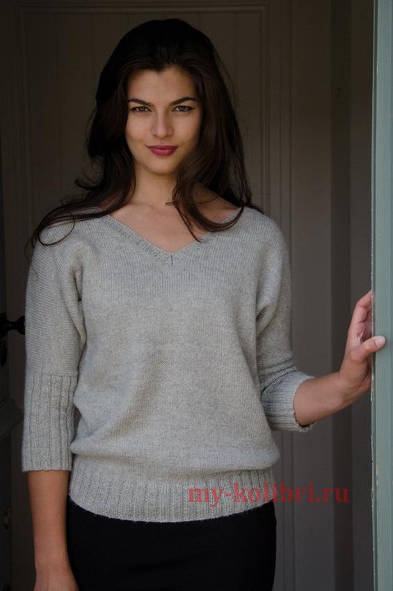 пуловер спицами платочной вязкой