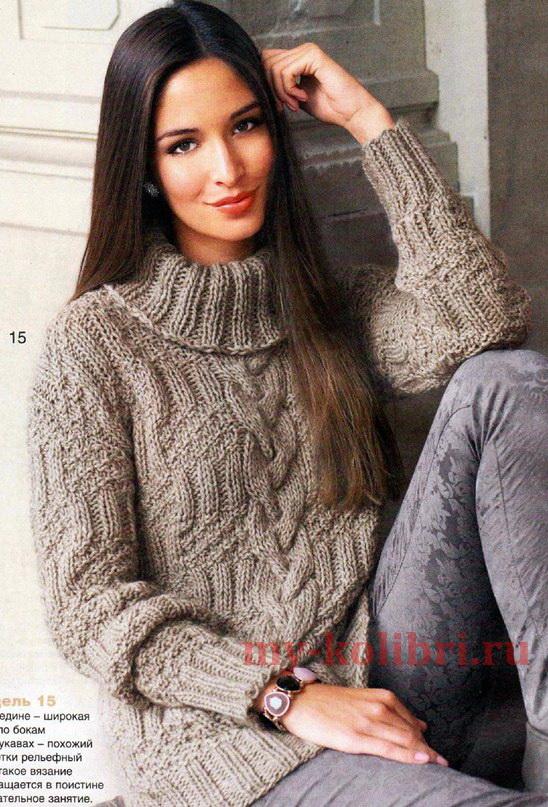 свитер спицами рельефным узором