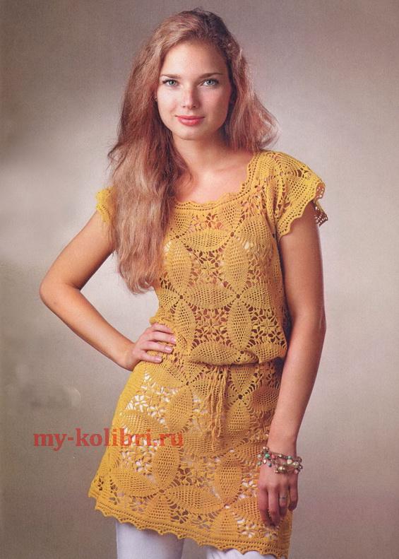 Платье-туника крючком из мотивов «Золотые цветы»