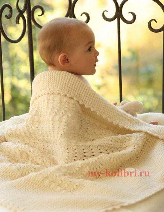 Детское одеяло спицами и крючком