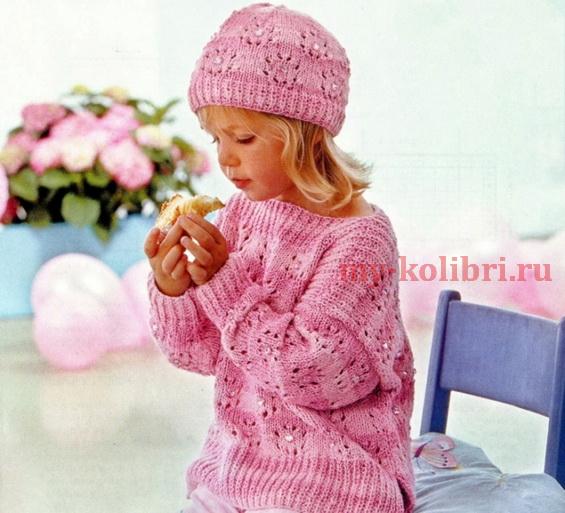 Свитер и шапочка для девочки спицами ажурным узором