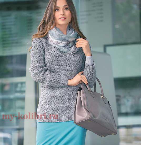 пуловер спицами с тонким рельефным узором