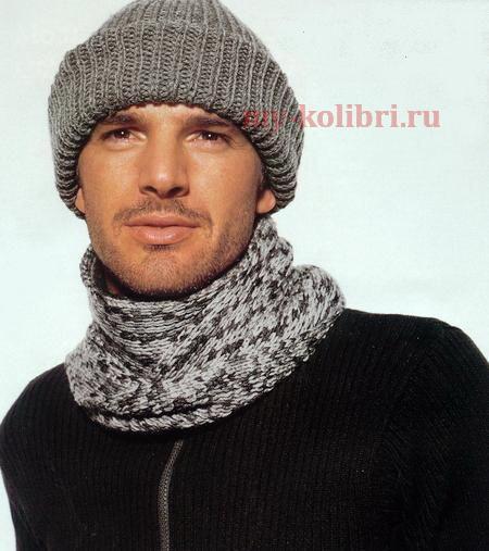 Мужская шапка и шарф спицами полупатентным узором
