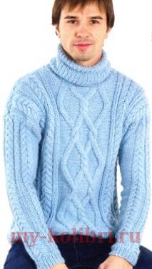 Мужской свитер спицами с красивыми аранами