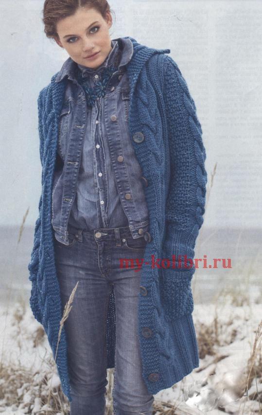 вязаное пальто спицами с описанием и схемами