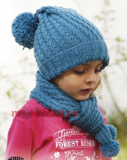 Шарф и шапочка спицами для девочки «Морская мечта» на 3-12 лет
