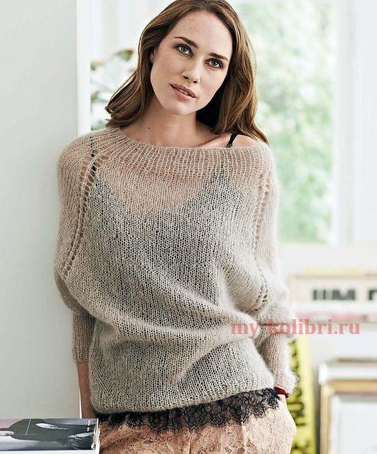 мохеровый женский свитер спицами: схема