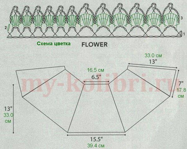 шаль-накидка крючком с ажурным цветком