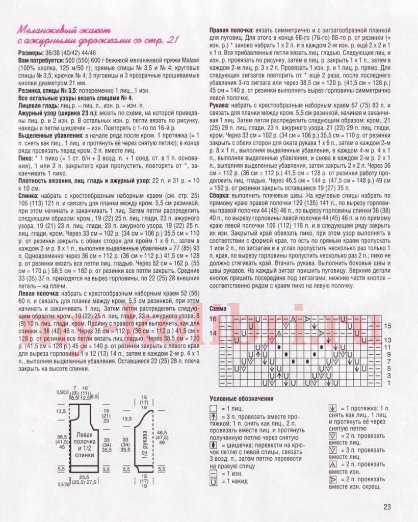 жакет спицами с описанием и схемами