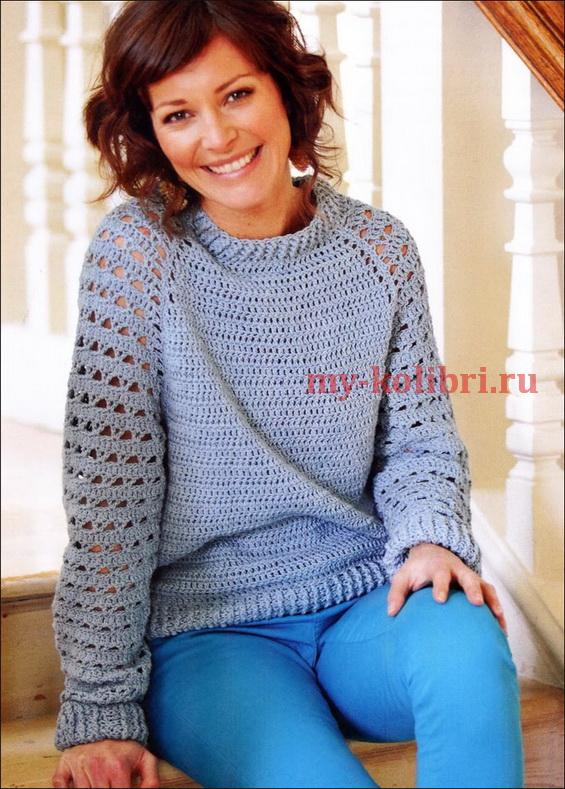 пуловер крючком для начинающих