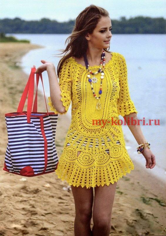 Пляжное платье крючком схемы и описание для начинающих