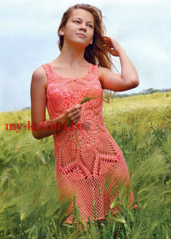 Пляжное платье крючком «Нектарин»,  с узором «ананасы»