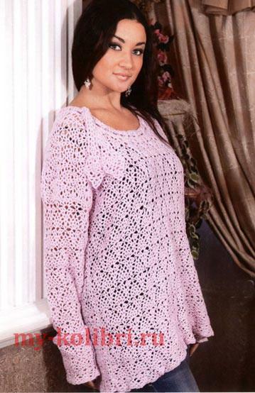 Вязание ажурной туники для полных женщин