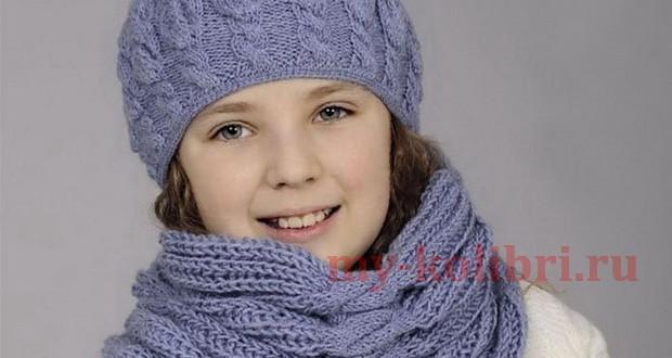 Связать крючком шапку с шарфом 155