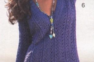 Ажурный пуловер спицами с глубоким V-вырезом