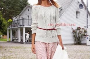 Белый свитер спицами с аранами