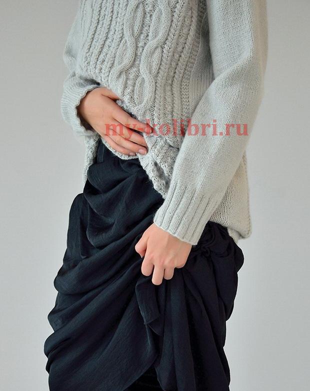 Длинный свитер спицами «Tranquil»_5