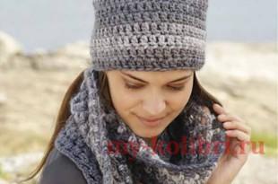 Шапка и шарф крючком крупной вязкой