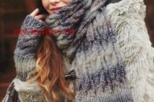 Шапка, шарф и митенки спицами узором из кос