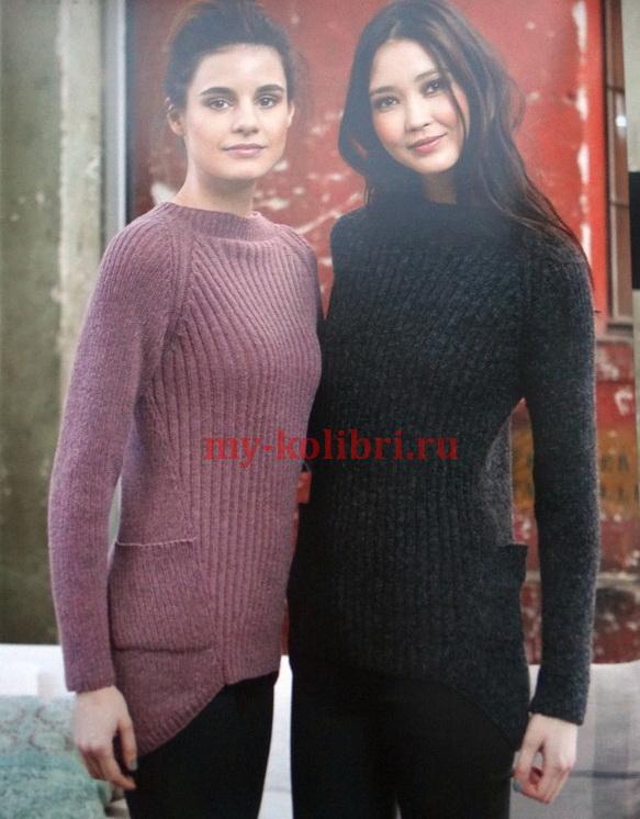 Вязание свитера спицами с асимметричной спинкой и карманами