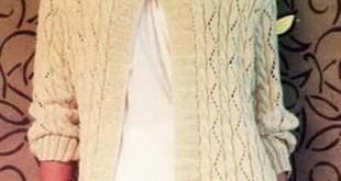Кардиган спицами ажурным растительным узором