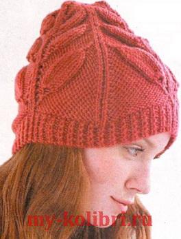 Красивая шапка спицами узором из листьев_4