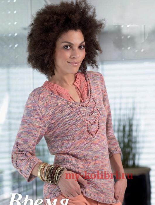 Меланжевый пуловер спицами с центральным ажурным мотивом_2