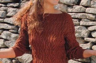 Молодежный свитер спицами фактурным узором _3
