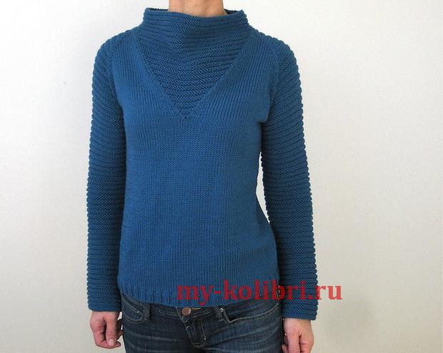 Молодежный свитер спицами платочной вязкой «Space Girl»_7