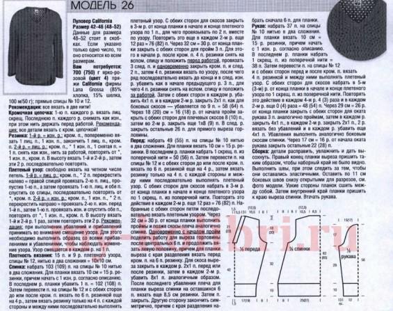Вязание пуловера спицами плетенным узором с линией рельефа (2)